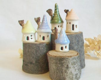 Mini Houses - Pastels - Set of 5 - Pink - Green - Blue - Lavender - Yellow  ---- Handmade, Wheel Thrown --Ready to Ship