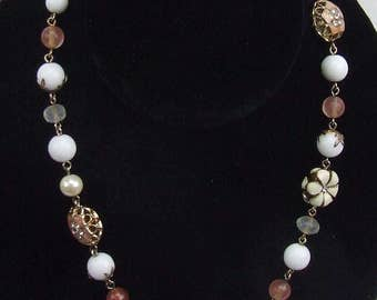 """Love Vintage Beaded Necklace Enamel Clear and Encased Beads Copper Colors White and Pink Bride Maid Gift 15"""" Long Boho Jewelry"""