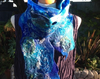 Felted wool skinny scarf blue turquoise lacy cobweb - super long fiber art to wear lagenlook