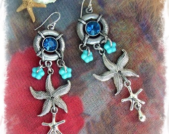 STARFISH Delight Earrings Nautical earrings BLUE earrings Ocean jewelry Long Dangle earrings Caribbean Vacation Womens fashion GPyoga