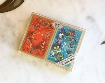 Vintage 50s Zodiac Playing Cards Astrology Set of 2 Decks Unused