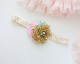 Starla metallic gold pink mint rosette chiffon flower headband bow
