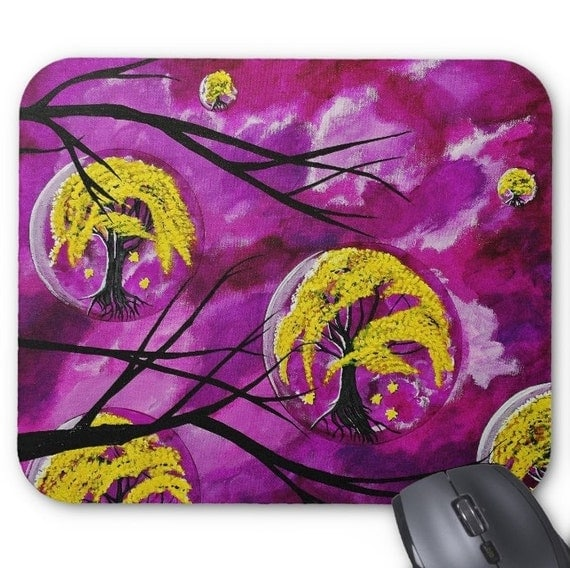 Mousepad Mouse Pad Fine Art Painting Purple Sky Yellow Autumn Tree Globes Modern Art Contemporary Original Painting Amber Lamoreaux Trees