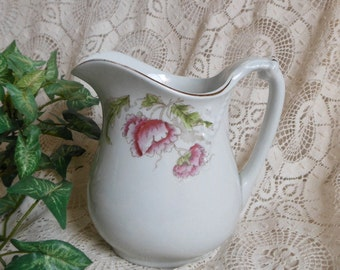 Sweet White Pitcher Creamer Cook & Hancock Pink Carnations Vintage at Quilted Nest