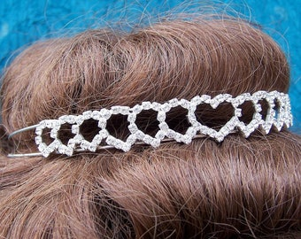 Vintage rhinestone tiara hearts design prom pageant wedding bridal headdress headpiece 1980s fashion (AAC)