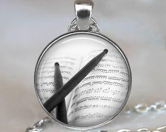 Drumsticks and Music necklace, drumsticks necklace drummer jewelry drummer necklace drums key chain drummer gift drums pendant
