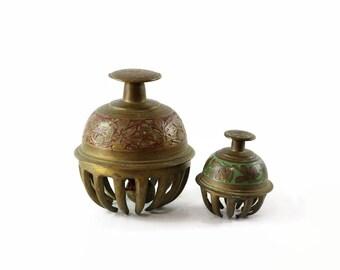 Vintage Brass Elephant Bells, Boho Room Decor, Hand Bells, Hippie Room Decor, Claw Bells