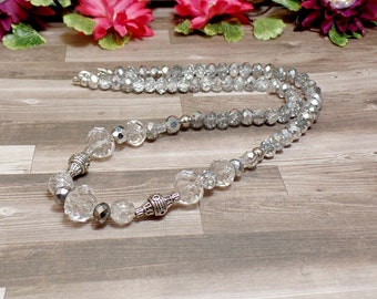 Clear Beaded Necklace - OOAK - Statement Necklace - Free US Shipping