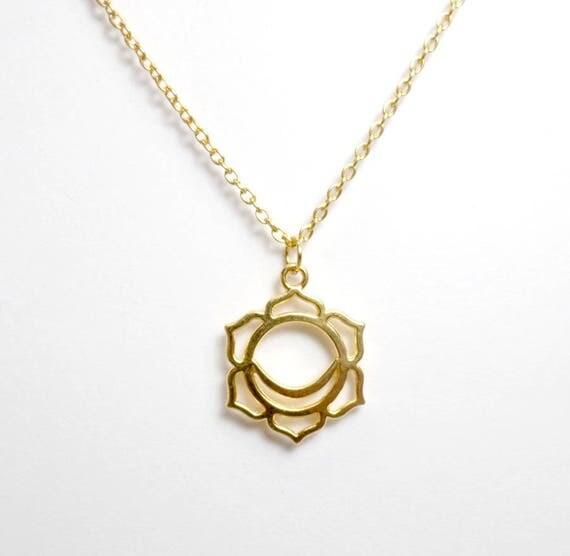 Gold Plated Sacral Chakra Necklace - Chakra Charm Necklace - Sacral Chakra Pendant