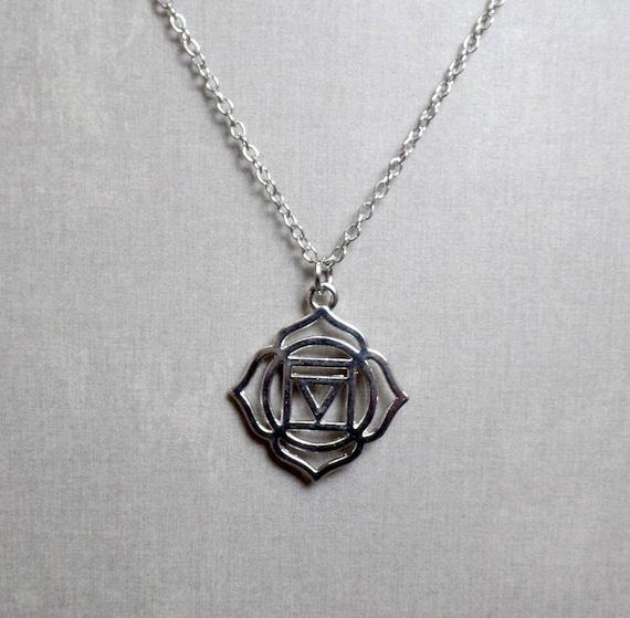 Silver Plated Root Chakra Necklace - Chakra Charm Necklace - Base Chakra Pendant