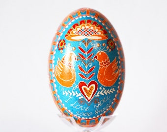 I Love you so much Goose egg Pysanka unique way to tell someone I love you with a gift love birds parents anniversary couples gift