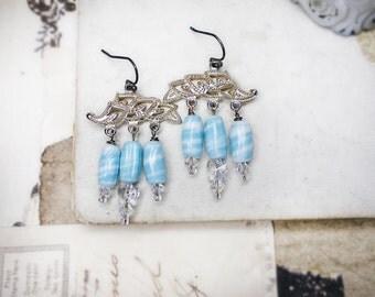 Rustic Chandelier Earrings -  Beaded Assemblage Earrings - Vintage Japan Glass & Fancy Metal Connectors - Crystal Butterflies - Blue Swirls