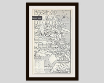 Vancouver Canada Map, City Map, Street Map, Old Map, Travel Theme Decor, 1950s, Black and White, Retro Map, City Street Grid, Historic Map