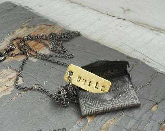 Billet Deux - miniature CUSTOM stamped tag & functional metalwork envelope charm, sealed link chain necklace