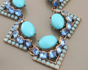 Vintage Inspired Necklace - Statement Necklace - Turquoise Necklace - Bib Necklace - Rhinestone Necklace - Blue Necklace - handmade Jewelry