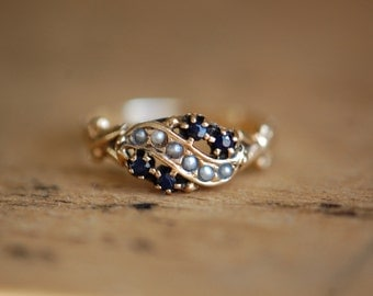 Vintage 14K 1930s sapphire and pearl dress ring ∙ antique saphire and seed pearl ring