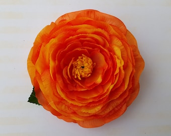 Beautiful ranunculus flower in orange pin up vintage rockabilly style 40s 50s hair flower hair piece bride wedding fascinator