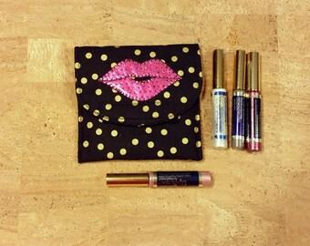 Lipsense, Lip gloss pouch, holder, custom made, black gold poke a dots, holds 5-6 lipsticks, great down line gift. hot pink lip