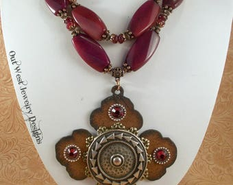 Christian Cowgirl Statement Necklace Set - Chunky Ruby Red Jade - Cross Pendant