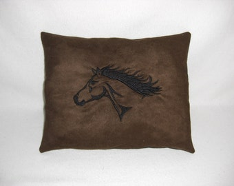 Dark Brown Suede Horse Head Embroidered Handmade Pillow, Decorative Pillow, Cabin or Lodge Decor, Housewares, Novelty Pillow, Western Decor