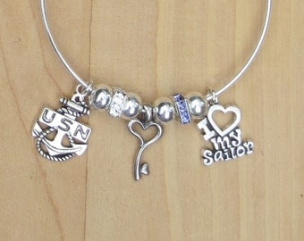 Navy Bracelet, Blue & White RhinestoneS, Key to Heart, Silver Bangle Bracelet, I Heart My Sailor, U.S. Navy, Gift for Her
