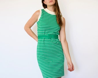70s Retro Prep Kelly Green Striped Knit Sweater Dress s m
