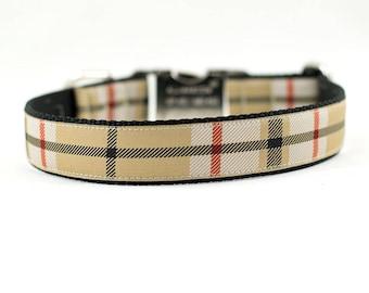 "Beige and Black Plaid Dog Collar, Dressy Dog Collar, Plaid Collar, Custom Dog Collar, Buckle Collar or Martingale, 1""Wide"