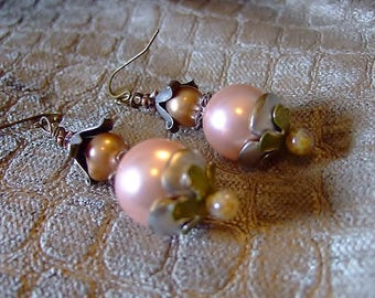 Pink Pearl Earring Blossoms, Handmade Jewelry on Etsy, Lampwork Glass, Buttercup, OOAK, Birthday, Gift for Her, Unique Gifts, Accessories