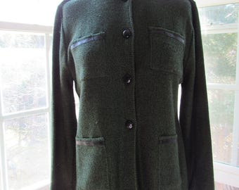 Vintage San Remo Green Cardigan, Green and Black
