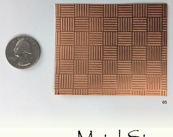 "Textured Copper 24 gauge Sheet Metal 2.5"" x 3"" - Solid Copper - Great for Jewelry Making 65"