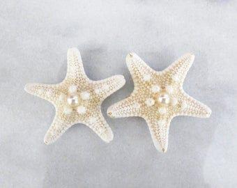 Starfish Shoe Clips White Sea Stars Pearl Ariel Mermaid Costume Nautical Bride Bridal Bridesmaid Gift Destination Beach Wedding Accessories