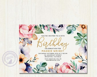 Elegant  Birthday Invitation | Floral Birthday Invite | 21st, 25th, 30th, 40th, 50th, 60th, 70th. Milestone invitation 3081