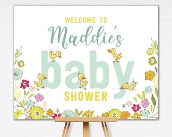 Welcome Baby Shower Sign | Baby Duckling Welcome Sign | Yellow Custom Sign |  Duck Baby Shower Decor | Printable Sign | 0717