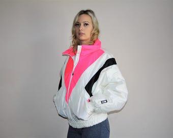 pic 0943 - VTG 80s Neon Pink Colorblock Ski Jacket Retro Winter Parka Coat - 1980s Puffer Jacket  - 80s Clothing - WV0063
