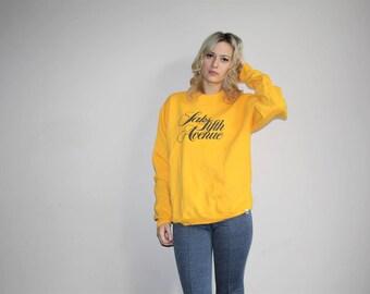 80s Vintage Saks Fifth Avenue Bright Yellow Sweatshirt - 1980s Sweatshirts - 80s Clothing - WV0122