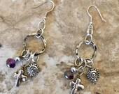 Silver Cross Earrings chandelier religious charm earrings