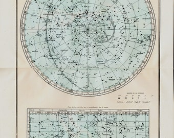 1929 Vintage star map, Antique astronomy print, large star chart, Southern celestial planisphere, astronomical chart, stars poster