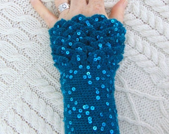 Crocodile Stitch Gauntlets, Dragon Scale,  Sequin Ocean Teal Sea Green Wrist Warmers Fingerless Gloves Crochet