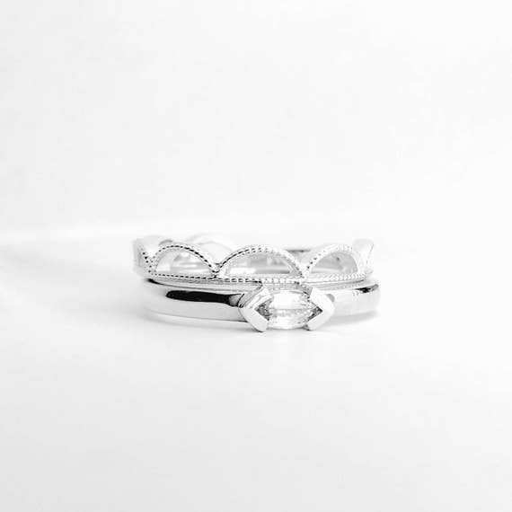 White Sapphire Marquise Ring and Lacy Arch Band Sterling Silver