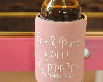 Wedding Favors - Charlotte City Skyline Personalized Wedding Can Coolers, Favors for Guests - Other cities available in Description