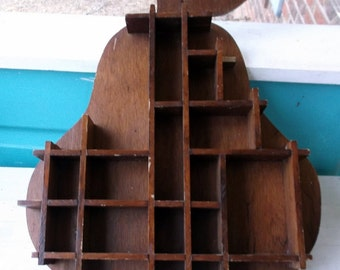 Vintage Wooden Shadow Box Pear Shaped Knick Knack Display Wall Decor Trinkets and Memory Box