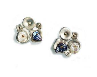 Sterling Silver Collaged Style Earrings with Keshi Pearls