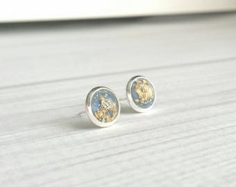 Gold Foil Earrings - slate blue grey / gold leaf stud - small little round dome everyday glam - silver bezel / post - trend sparkle posh