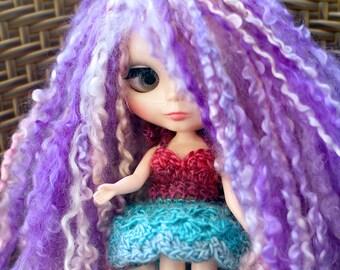 Pink Blue Blythe Doll Dress, Blythe Lace Dress, Crochet Blythe Doll Dress, Blythe Blue Tutu, Blythe Petal Dress, Pink Crochet Doll Dress