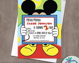 Mickey Mouse Invitation, Mickey Mouse Clubhouse Birthday Party Printable Invite
