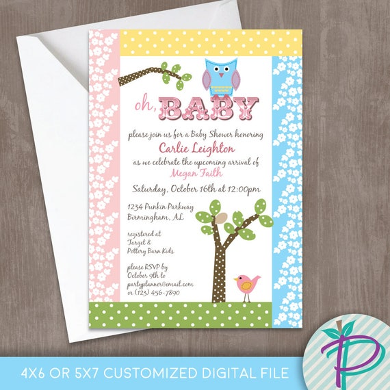 Owl Baby Shower Invitation, Birth Announcement, Owl, Bird and Tree Printable