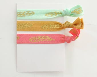 no crease elastic tie hairbands -- feathers in marine parents inspired colors