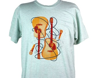 Guitars T-shirt, Men's American Apparel Heather Blue Tee