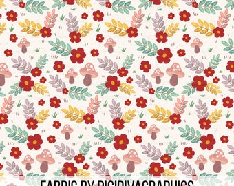 Woodland Floral Fabric By The Yard - Mushroom Forest Leaves and Flowers Whimsy Print in Yard & Fat Quarter