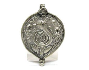 Antique Indian Amulet, Hooded Naga Snake (Naga Tripudian) Pendant, Old India Amulet, Coin Silver (75-90%), Rajasthan, 13.49 g, Ethnic Tribal